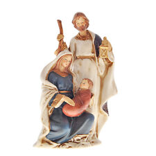 PRESEPE NATALE NATIVITA COMPATTO CM.20 in PORCELLANA COLORATA DECORI ORO 749X299