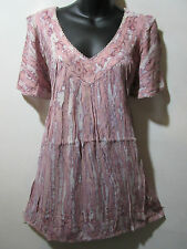Top Fits 1X 2X 3X Plus Tunic Purple Pink Marble Tie Dye Sequins V Neck NWT 5780