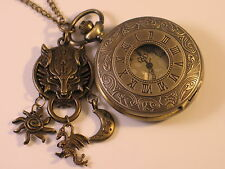 STEAMPUNK Game Of Thrones Bronze Pocket Watch Necklace - Winter is Coming !