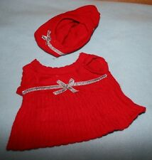 Build A Bear  Clothes  PRETTY!  FANCY!!  red sweater DRESS matching HAT  LOT5460