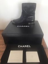 "CHANEL BLACK QUILTED LEATHER COMBAT MOTO ANKLE BOOTS METAL ""CC"" CAPS!  38 7 7.5"