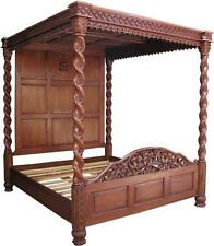 6' Super King Janna Four Poster Bed Solid Mahogany Hand Carved Traditional B019