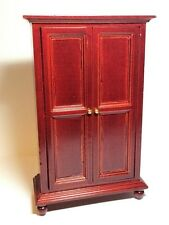 Mahogany Two Door Wardrobe On Feet, Doll House Bedroom Furniture, 1.12th Scale