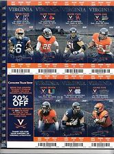 2014 VIRGINIA CAVALIERS FOOTBALL SEASON TICKET STUB STRIP SHEET SET MIAMI UCLA