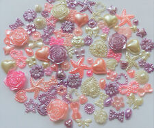 50pcs Pearl Mix Pinks Lilac Ivory Hearts Star Bows Flowers Tear Cabochons Craft