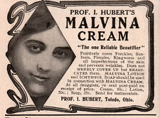 2 EARLY ADS  MALVINA CREAM PROF HUBERT CURES SUNBURN RINGWORM QUACK TAN