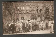 RPPC post card group of men and women posed/Schloss photographie Heidelberg