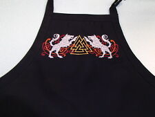 Scandinavian Embroidered Black Apron with Norse God Odin's Wolves & Valknut