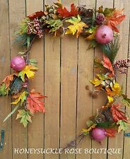 5' FALL GARLAND, RED POMGRANITES, ARTICHOKES, ORANGE, YELLOW & GREEN LEAVES