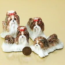 4 SHIH TZU DOG PUPPY CERAMIC POTTERY STATUE ANIMAL MINIATURE FIGURINE
