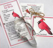 CARDINAL ~ HOLLY ~ tin cookie cutter DUO ~ MADE IN THE USA (NEW) SALE!