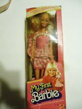 Vtg 1982 MY FIRST BARBIE doll in BOX pink gingham dress Philippines