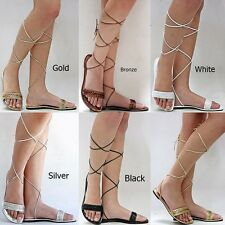 New Womens XM1 Black Gold Silver Beaded Gladiator Wrap Lace Up Flat Sandals