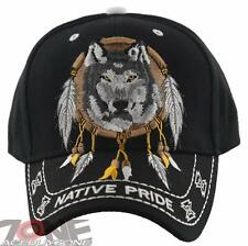 NEW! NATIVE PRIDE INDIAN AMERICAN FEATHERS BIG WOLF CAP HAT BLACK