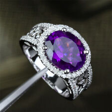 Dark 9x11mm Amethyst 14K White Gold Pave .45CT Diamond Halo Engagement Ring 6.5#