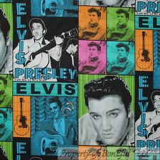 BonEful Fabric FQ Cotton Quilt Elvis Presley Music Guitar VTG US Patchwork Block