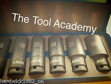 DEEP AIR IMPACT SOCKET SET 14 PCE 1/2 DRIVE IN STORAGE METAL TIN  10-30mm METRIC