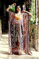 New 100%Silk kaftan swaroski beads digital print full length caftan sillk 113
