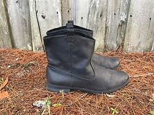 OLD NAVY BLACK FAUX LEATHER SLIP ON ANKLE BOOTIE FLAT HEEL BOOTS SIZE 9