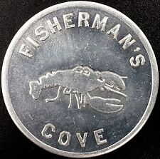 """Fisherman's Cove """"Good for 1 Cocktail at any Time"""" aluminum token! 893-1512!"""