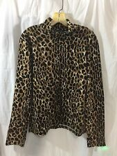 Jones New York Sport Stretch Turtle Neck Large Animal Print Long Sleeve L