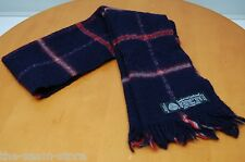 VTG Superfine Lambswool Scarf Navy Blue Red Gray Plaid 46 x 10 Fringe EUC