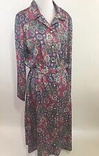 Vintage 80s Pink Artsy Belted Button Front Secretary Dress Sz 12 Large Pockets