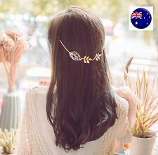 Women Girl Retro Boho Party gold color leaf Wedding Hair piece Head pin Clip