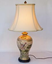 Lovely Vintage Chinese Hand Painted Porcelain Lotus Design Table Lamp Wood Base