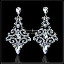 Sparkling Silver Austrian Diamante Crystal Long Drop Earrings Party/Wedding UK