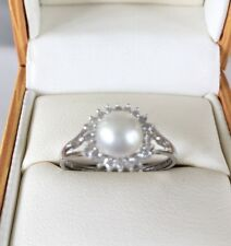 Cultured Pearl And Diamond White Gold 9 Carat Ring
