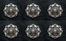 "Set of 6 WESTERN HORSE TACK HEADSTALL ANTIQUE PISTOLS CONCHOS 1-1/2"" screw back"