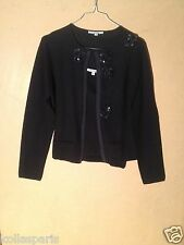 Georges Rech Twin set Cardigan top bretelles Laine Noir perles sequins 42 44