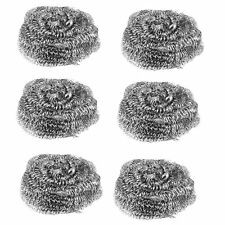 PACK OF 6 x STAINLESS STEEL SCOURERS WIRE KITCHEN CLEANING PADS WASHING UP