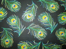 PEACOCK FEATHERS METALLIC GOLD BLACK FEATHER COTTON FABRIC BTHY