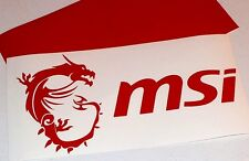 "12"" RED MSI w/ Dragon & Text Vinyl Decal Sticker Computer Pc Laptop Case Mod"