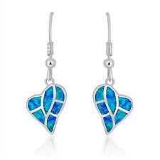 Lovely Silver Plated Blue Opal Post Heart Drops/Dangle Earring Opal jewellery