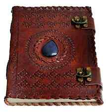 "Handmade Large 8"" Embossed Leather Journal Celtic two latches blue stone blank p"
