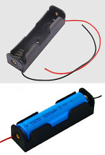 "1 x 18650 Battery Holder Box 3.7 V Clip  Case Black With 6"" Wire Lead Storage"
