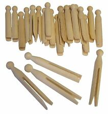 60 x TRADITIONAL NATURAL WOODEN CRAFT DOLLY PEGS 11cm MODELLING WASHING LAUNDRY