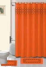 15 Piece Charlot Embroidery Banded Shower Curtain Bath Set