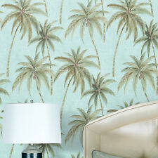 Top Quality Romantic Realistic Green Palm Tree on Water Blue Wallpaper Roll