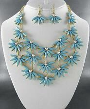 Turquoise Blue Lucite Bead Clear Crystal Flower Floral Necklace Earring Set