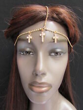 Women Head Metal Crosses Chain Gold Jewelry Grecian Hair Accessories Rhinestones