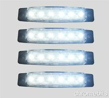 4 12V LED WHITE SIDE MARKER LIGHT LAMP TRUCK TRAILER CAB CHASSIS CARAVAN