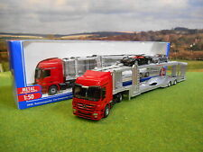 SIKU MERCEDES ACTROS CAR TRANSPORTER LORRY 1/50 WITH 2 CARS 3934 *NEW & BOXED*