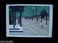 SMALL Fascinating KIYOSHI SAITO Zen Temple CHOP SIGNED Mixed Media WOODBLOCK Art