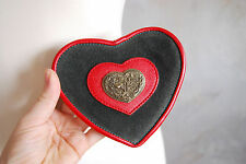 vtg lovely mori girl folk suede heart pouch purse to be fitted on the belt