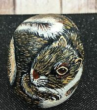 """Painted Squirrel Chipmunk on Rock Signed Quebec Canada Artist 3"""" Paperweight Pet"""