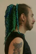 Gothic cyber punk emo single green blue woven wool hair fall knitted lolita